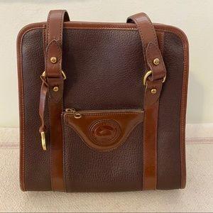 Vintage Dooney & Bourke Two Tone Brown Satchel Bag